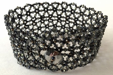 A- Victorian mourning colors lace bracelet-2